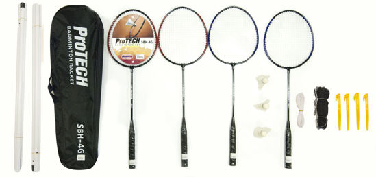 Protech Badminton Raket Seti - 4 Adet Raket + 3 Adet Top + File + Çanta. ürün görseli