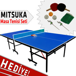 Resim Mitsuka 501B Mavi Masa Tenis Masası - Mitsuka Masa Tenis Seti HEDİYE!
